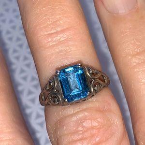 Vintage Sterling Filagree ring Topaz Stone  6.5